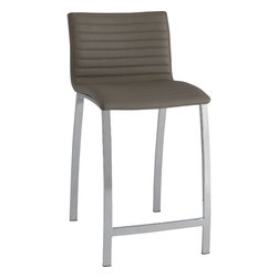 Coaster - Counter Height Stool, Taupe - Set of 2 - Stylish contemporary bar stools with a channeled padded back and seat, with wide bowed legs and a foot rest in chrome. Available in two heights, 24 and 29 and two colors, black and taupe.