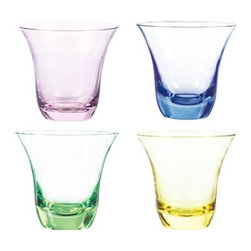 Qualia - Aurora Double Old Fashioned Glasses, Set of 4 - Bring a soft splash of color to your kitchen with the Aurora Double Old Fashioned Glasses in pink, blue, green and yellow. Featuring translucent colored glass and a classic shape, these glasses make a bright, bold addition to contemporary decor. Holds 11 ounces of liquid. Dishwasher safe.