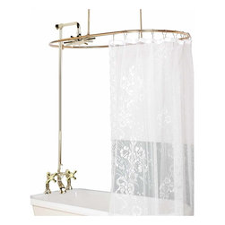 Renovators Supply - Shower Surrounds Solid Brass Oval Shower Surround Cross Faucet | 16574 - Deck-Mount: Complete your vintage bathroom! This faucet features classic solid brass cross handles and diverter lever. Faucets are labeled HOT and COLD. Brass PVD (Physical Vapor Deposition) construction means that this faucet will be around for a while without tarnishing. It includes a 38 inch ceiling brace and a 16 inch wall brace. Riser shower adjusts in length from 33 1/2 to 61 inches. Luxurious Rainfall showerhead included.