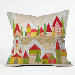 DENY Designs - DENY Designs Cori Dantini Christmas Village Throw Pillow - Wanna transform a serious room into a fun, inviting space? Looking to complete a room full of solids with a unique print? Need to add a pop of color to your dull, lackluster space? Accomplish all of the above with one simple, yet powerful home accessory we like to call the DENY Throw Pillow! Available in four sizes, our throw pillow is made from a medium weight woven polyester with a hidden zipper and removable bun insert.
