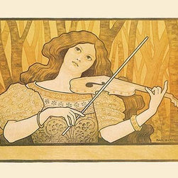 """Buyenlarge.com, Inc. - Lessons of the Violin - Fine Art Giclee Print 24"""" x 36"""" - Advertising poster by Paul Berthon (1872-1909) for a violin teacher. The young woman gently leans her head on the instrument and plays. The softly painted trees in the background give a fairy tale feeling and convey a sense of magic and wonder with the play of this stringed instrument."""