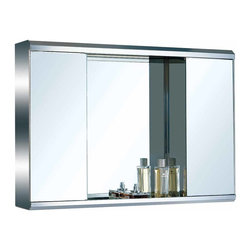 Renovators Supply - Medicine Cabinets Bright Stainless Medicine Cabinet 21 3/4 H | 13537 - Bathroom cabinets with mirrors. Maximize storage in style, this exquisite medicine cabinet is 100% stainless steel inside and out. The perfect investment for any bathroom. Sold individually. Measures: 21 3/4 inch H x 31 1/2 inch W x 5 1/8 inch projection.