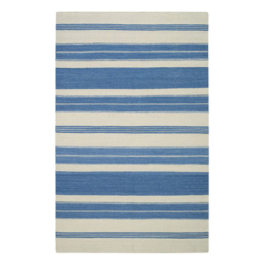 """Puhalo Stripe rug in Faded Azul - """"My great grandmother from Croatia was a weaver and a seamstress.  This rug was inspired from a beautifully simple tablecloth she had made as a teenager in the early 1900's.""""  Genevieve Gorder"""