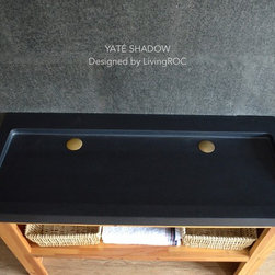 Living'ROC - 47x19 Black Granite Double trough Vessel Sink - YATE SHADOW - YATE SHADOW is a double either trough or wallmounted genuine black granite Bathroom sink. Could you imagine one day installing a double basin made from pure absolute black granite sought after by specialists around the world. Discover the well-being provided by this beautiful piece YATE SHADOW sleek lines and Zen-style give a simple but chic look to your bathroom.Feel free to click on our facebook portfolio page to inspire yourself with our clients' projects...Simply our living'ROC style.Cut from a rare and invaluable black granite block you will love its generous size 47-1/4' x 19-1/3' x 2-1/3'. YATE SHADOW is a unique product in the U.S.A. You will not let anyone feel indifferent with this very design living'ROC creation designed by our french designer Florent LEPVREAU.This double basin is from the AQUADEOS range created from genuine black granite. Inspired by the model FOLE'GE SHADOW (better adapted to larger spaces) YATE will beautify a smaller bathroom. Adding stone elements will provide a modern serene and trendy atmosphere in your bathroom. Honed finishes and its very convenient slope will add practicality to beauty.if you wish to standardize your project you can choose among a wide range of black shower bases in black granite or black mongolia basalt (very similar color) carved from the same material (similar tones and finishes) as for example black granite models Spacium Shadow Palaos Shadow Quasar Shadow or Dalaos Shadow and mongolia black models Serena Black Corail BlackOur creation is delivered without an overflow drain and faucet (not included) - every US drains and faucets models you can find on the market will fit perfectly on Living'ROC vessel sink. This model is ready to use over the countertop. The photos you see online have been taken with extreme care by our Founder CEO - Florent LEPVREAU because without them we would not be one of the natural stone business key player of 