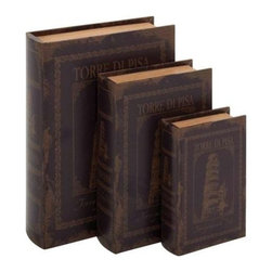 Benzara - Set of 3 Italian Inspired Book Box - Set of 3 Italian inspired book box. Bring in the rich glory of Italy with this Set of 3 leather book sets. Some assembly may be required.