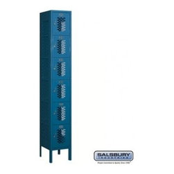 Salsbury Industries - Vented Metal Locker - Six Tier Box Style - 1 Wide - 6 Feet High - 12 Inches Deep - Vented Metal Locker - Six Tier Box Style - 1 Wide - 6 Feet High - 12 Inches Deep - Blue - Unassembled