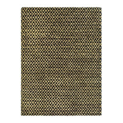 Safavieh - Bohemian Black/Yellow Area Rug BOH315A - 3' x 5' - Safavieh's Bohemian Collection is all-organic, with exquisitely fine jute pile woven onto a cotton warp and weft, and an earthy natural color palette. The high quality jute chosen for our Bohemian rugs is biodegradable and recyclable, with an innate sheen because it is harvested only from Cannabis Sativa (commonly known as the  true hemp plant), a quickly renewable resource that excels in length, durability, anti-mildew and antimicrobial properties. Safavieh brings fashion excitement to the eco-friendly rug category with the Bohemian collection's unique patterns, ribbed textures and remarkable hand. The rugs are washed to soften the yarn, and then brushed to an even more lustrous sheen. Hand Knotted in India.