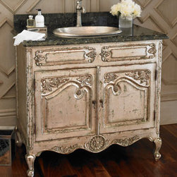 """""""Athens"""" Chest with Sink - The """"Athens"""" two-door mahogany chest would be a beautiful addition to any bath, including a guest bath.  It is designed with a granite top, two doors, carved detailing, and a silvery finish.  39""""W x 24""""D x 40""""T."""