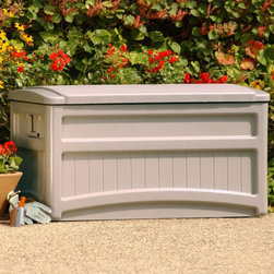 Suncast - Suncast DB7000W Saxon Premium 73 Gallon Deck Box with Wheels Multicolor - DB7000 - Shop for Sheds and Storage from Hayneedle.com! The Saxon Storage Deck Box with Wheels makes outside storage a snap. It is made from long lasting resin so your Saxon Deck Box will be around for years of service. You assemble the Saxon with no tools so assembly is both quick and easy. It has a capacity of up to 73 gallons or 9.75 cubic feet which is ideal for storing your outdoor furniture cushions deck towels and general outdoor accessories. The stay-dry design helps protect against water damage and the Saxon's wheels along with side handles allow for easy portability and maneuverability.