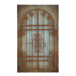 Home Decorators Collection - Rustic Gate Wall Decor - Boasting European charm, the Rustic Gate Wall Decor will help you fill any empty wall. Rusted gate is secured to wood planks with a natural and blue-tinted finish. A decorating solution for any spare wall. Looks like an antique that's been in the family for years.