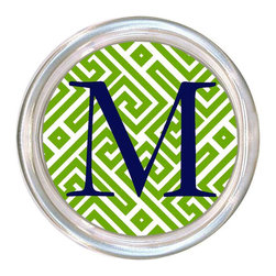 Marye Kelley - Fret Lime & White Personalized Coaster - Fabulously functional, this posh coaster offers a stylish perch for a cocktail. Green and white hues create a mod fret pattern surrounding a personalized center monogram. Choose font style; Enter initial, name or monogram exactly as it should appear; Made in the USA