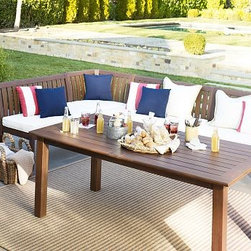 """Chatham Rectangular Butterfly Extension Table & Banquette Set, Short - Dining alfresco is a quintessential summer pleasure, and our Chatham Collection makes it better than ever. Crafted of solid mahogany, our dining table and banquette set lets you create a welcoming outdoor dining space instantly. Two drop-in leaves make room for more guests at the table, and the bench-style banquette brings a casual, cozy feel. Click to read an article on {{link path='pages/popups/chatham-care_popup.html' class='popup' width='640' height='700'}}recommended care{{/link}}. Table: 74"""" long x 40"""" wide x 30"""" high; extends to 106"""" long and seats up to 10 38"""" Banquette: 38"""" wide x 27"""" deep x 35.5"""" high 48"""" Banquette: 48"""" wide x 27"""" deep x 35.5"""" high Corner Banquette: 27"""" square, 35.5"""" high Crafted of solid mahogany and sealed for moisture resistance. Butterfly extensions increase the table's length, and store conveniently under the top. Exposed hardware has an antiqued finish. An opening at the center of the table accommodates all of our outdoor umbrellas. Set of 5 includes Table and one Corner Banquette, one 38"""" Banquette and one 48"""" Banquette, or Table and one Corner Banquette and three 38"""" Banquettes. Thick cushion (sold separately) is wrapped in water-repellent polyester canvas or Sunbrella(R); imported. Sunbrella(R) cushions and slipcovers are special order items which receive delivery in 3-4 weeks. Please click on the shipping tab for shipping and return information. View our {{link path='pages/popups/fb-outdoor.html' class='popup' width='480' height='300'}}Furniture Brochure{{/link}}."""