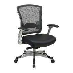Office Star - Office Star 317 Series Executive Breathable Mesh Back Chair in Black - Office Star - Office chairs - 317ME3R2C6KR5 - Executive Breathable mesh back chair with Memory foam seat and flip arms lumbar support Deluxe Knee Synchro with seat Slider soft PU Pads Heavy duty Silver coated nylon finish base with dual wheel carpet casters.