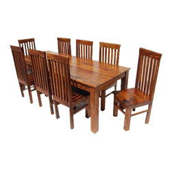 Sierra Living Concepts - Lincoln Wood 9 Piece Dining Set - Any team of rivals would be comfortable in the Classic Lincoln Wood 9 Piece Dining Table and Chair Set. This stately handmade furniture set features school back chairs and a framed solid wood dinning table.