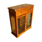 36 Bottle Wooden Storage Cellar Wine Rack with Glass Doors - Gorgeous Wine Rack/Cabinet made entirely from Solid Indian Rosewood and Stunning Iron Work with glass cabinet doors for easy viewing of your great wine collection.