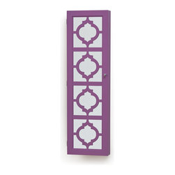 InnerSpace Luxury Products - InnerSpace Designer Jewelry Armoire - Over-the-Door or Wall-Hang / Purple - InnerSpace Designer Jewelry Armoire in Purple finish.   The Over-the-Door or Wall Hang Designer Mirrored Armoire features a black felt interior, magnetized door clasp, silver finish hardware, three (3) large, compartmentalized trays, 24 hooks for bracelets and necklaces, slots for up to 50 dangling and studded earrings, and compression folds for up to 84 rings.  A front-facing, die cut, decorative mirrored cabinet opens to reveal your entire collection, easily accessible and brilliantly displayed. Keep your jewelry organized and out of sight; avoid frantic searches through a mess of tangled necklaces and endless sorting to find a matching pair of earrings. All mounting hardware is included, giving you the option to hang the armoire from the wall or over any door.  Closed armoire is 14L x 3.5W x 47H.  30-Day Manufacturer Limited Warranty for manufacturing defects.