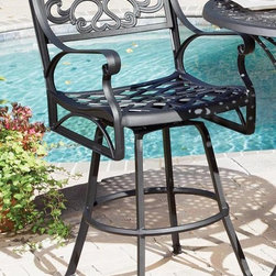 HomeStyles - Outdoor Barstool - UV resistant, hand applied powder coat finish. Seat designed specifically to prevent damage caused from pooling by allowing water to pass through freely. Adjustable and nylon glides on all legs prevent damage to surfaces caused by movement and provide stability on uneven surfaces. Stainless steel hardware. Made from cast aluminum. Black color. Seat height: 28 in.. Arm height: 38.25 in.. Overall: 24.5 in. W x 22 in. D x 48 in. H. Warranty. Assembly InstructionsCreate an intimate conversation area with home styles outdoor stools.