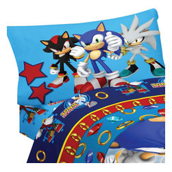 Franco Manufacturing Company Inc - Sonic Hedgehog Speed Video Game Twin Bed Sheet Set - Features: