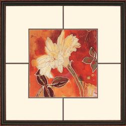 """Paragon Decor - Gerber Garden II Artwork - Brighten up those boring walls with this colorful piece, """"Gerber Garden II."""" The piece features a large profile of a flower which contrasts passionate crimson, mustard yellows, and burnt sienna tones with subtle olive greens and muted brown tones. It can be displayed alone, but looks best with its sister piece, """"Gerber Garden I."""" Each piece is surrounded by a cr�me-colored matte and placed within a simple brown frame. This piece measures 33 inches wide, 2 inches deep, and 33 inches high."""
