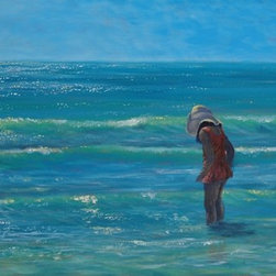 """Original Tropical Seascape Painting  Siesta Key - Siesta Key Searching is an original 20"""" x40"""" acrylic seascape painting on a stretched canvas framed in a 2"""" wide gold frame."""