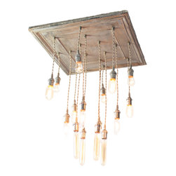Urban Chandy - Square Salvaged Barn Tin Chandy, Antique Gold - This chandelier is the ultimate in vintage chic design. You will love the combination of antique bulbs and salvaged barn tin. The rustic mix of materials is perfect for any eclectic room in need of a strong focal point. Just imagine the instant warm glow that will fill your home.