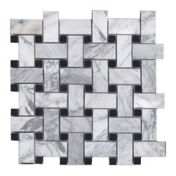 Bianco Carrara & Black Marble Basketweave - If you love hexagon tile but are looking for something a little different - basketweave is another classic pattern, and the black dot gives it a bit of elegance.