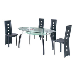 American Eagle Furniture - 210DT & 360CH Glass Table With Black Vinyl CHairs 5 Piece Dining Set - The 210DT & 360CH dining set is a great addition for any dining room that needs a touch of simple modern design. The dining table has a glass table top that features a two tier design. The main table top comes in a clear glass oval shape while the lower level comes with a frosted finish. The table has a four leg design with the legs made from polished stainless steel and black accents running up the legs vertically. The chairs come upholstered in a stunning black vinyl material with high density foam placed within the cushion for added comfort. The chairs have a unique open square design on the back that adds to the overall look. The frame of the chairs are crafted from polished stainless steel with the backrests extending down to the legs. The dining set consist of a dining table and four chairs only.