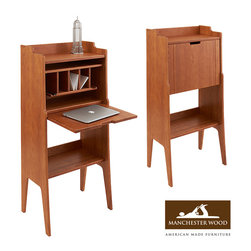 Green Mountain Writer's Drop Desk Cabinet by Manchester Wood - Unique and practical, discreet and compact, versatile and expansive, the ideas that make the Green Mountain Writer's Drop Desk Cabinet are endless. In short, it's an ideal work nook for a small living space, offering ample storage and shelving inside the cabinet as well as outside. This handcrafted solid wood desk is one-of-a-kind.