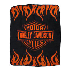 Zeckos - Harley Davidson Bar & Shield Logo Throw Blanket Flames - This ultra soft, comfortable and warm polar fleece throw blanket features the Harley Davidson Bar & Shield logo on a black background, with tribal flames at the top and bottom. It measures 60 inches long, 50 inches wide, and is machine washable. It makes a perfect gift for any Harley rider.