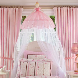 Ballerina Canopy - Your little dancer will slip into bed with delight under this ballerina canopy. Hanging from the ceiling, this delicate lady showers over a simple bed, creating a wonderland and even eliminating the need for a headboard, if desired.