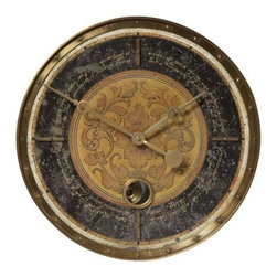 Uttermost Leonardo Black Script 18-in. Wall Clock - The Uttermost Leonardo Black Script 18-in. Wall Clock adds antique charm to any room in your home. The face of this elegant wall clock is made of black weathered metal that is laminated for durability and has brass details. It has a small inner pendulum that works. This wall clock requires one AA battery not included. The Leonardo Black Script Wall Clock lends Old-World style to your home.About Uttermost The mission of the Uttermost Company is simple: to make great home accessories at reasonable prices. This has been their objective since founding their family-owned business over 30 years ago. Uttermost manufactures mirrors art metal wall art lamps accessories clocks and lighting fixtures in its Rocky Mount Virginia factories. They provide quality furnishings throughout the world from their state-of-the-art distribution center located on the West Coast of the United States.
