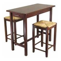 Winsome Wood - Kitchen Island Table with 2 Rush Seat Stools, Set of 3 - Now enhance your kitchen with our Island Table that comes in 3 piece - includes 1 table and 2 rush seat stools. This set is a perfect addition to any kitchen and is space saving. This Table features 2 drawers with metal handle at both the ends.