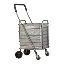 Folding Shopping Cart with Grey Cart Liner - Sturdy yet lightweight shopping cart rolls easy with front wheels that rotate a full 360 degrees. Cart folds flat with a simple lift motion for easy portability and storage (see additional photos). Grey tarp liner attaches with fabric tabs.