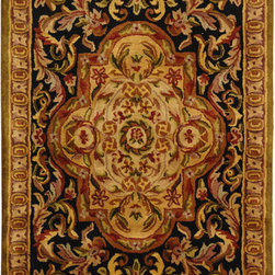 Safavieh - Handmade Classic Royal Black/ Beige Wool Rug (3' x 5') - Hand-tufted wool rug features a traditional designRoyal area rug features a black background and a beige borderFloor rug displays stunning accents of burgundy,red,olive,sage,gold,and blue spread across its beautiful patterns