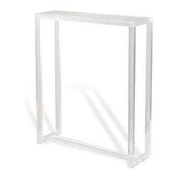 Kathy Kuo Home - Ava Modern Hollywood Tall Narrow Acrylic Console Table - If you're looking for a light, airy console table with plenty of space and function, the answer is clear.  Crafted from acrylic and glass, this delightfully tall and modern table is a great piece for display and clutter control.