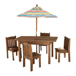 KidKraft - Table and Stacking Chairs with Striped Umbrella by Kidkraft - Kids absolutely love sitting in outdoor furniture designed just for them. Our Table & Stacking Chairs with Striped Umbrella is a sturdy set that kids will love to sit at while the grown ups use the grown up furniture. This wooden set is sure to look great in any backyard or patio.