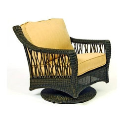 Woodard - Serengeti Swivel Rocking Lounge Chair (Fletcher - Barley) - Fabric: Fletcher - Barley. Wicker frame. Seat Height: 18.3 in. H. 32.8 in. W x 32 in. D x 33.5 in. H. All products are made to order. Orders cannot be cancelled after 5 calendar days. If order is cancelled after 5 calendar days, a 50% restocking fee will be applied.