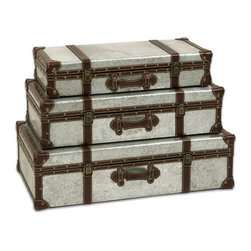 Steely Stacking Trunks - Transcend baskets and boxes�ۡ����make your organization line up with your style. These galvanized metal trunks, with their cocoa-colored trim, are an industrial-inspired touch that's perfect for hiding away less-used items.