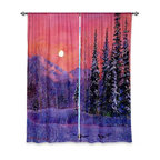 """DiaNoche Designs - Window Curtains Unlined by David Lloyd Glover - Rising Snow Moon - DiaNoche Designs works with artists from around the world to print their stunning works to many unique home decor items.  Purchasing window curtains just got easier and better! Create a designer look to any of your living spaces with our decorative and unique """"Unlined Window Curtains."""" Perfect for the living room, dining room or bedroom, these artistic curtains are an easy and inexpensive way to add color and style when decorating your home.  The art is printed to a polyester fabric that softly filters outside light and creates a privacy barrier.  Watch the art brighten in the sunlight!  Each package includes two easy-to-hang, 3 inch diameter pole-pocket curtain panels.  The width listed is the total measurement of the two panels.  Curtain rod sold separately. Easy care, machine wash cold, tumble dry low, iron low if needed.  Printed in the USA."""