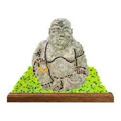 """Buddha With Beads Mosaic Art - I use the ancient medium of mosaics to create 21st century imagery. Buddha with Beads is fabricated out of tiny hand cut pieces of stained glass, meticulously placed so as to create an image that is not adhered to a substrate. 9 3/8"""" x 11 3/4"""" x 1/8"""" in dimension, this piece comes with a mahogany base. The delicate size makes this piece ideal for desks, shelves and especially windowsills, where the light shines through."""