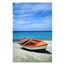 Custom Photo Factory - Boat on Shore Canvas Wall Art - Boat on Shore  Size: 20 Inches x 30 Inches . Ready to Hang on 1.5 Inch Thick Wooden Frame. 30 Day Money Back Guarantee. Made in America-Los Angeles, CA. High Quality, Archival Museum Grade Canvas. Will last 150 Plus Years Without Fading. High quality canvas art print using archival inks and museum grade canvas. Archival quality canvas print will last over 150 years without fading. Canvas reproduction comes in different sizes. Gallery-wrapped style: the entire print is wrapped around 1.5 inch thick wooden frame. We use the highest quality pine wood available. By purchasing this canvas art photo, you agree it's for personal use only and it's not for republication, re-transmission, reproduction or other use.