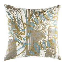 """Koko Company - Mikros Pillow, Blue, Gold, and Silver, 20"""" x 20"""" - Inspired by minute organisms in mineral colors."""