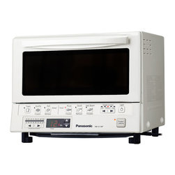 Panasonic - Panasonic NB-G110PW Flash Xpress Toaster Oven - The Panasonic NB-G110PW Flash Xpress Toaster Oven, in white, features double infrared (near and far) heating which means instant heat, no preheating necessary. Far infrared heating is used to cook the outside of the food efficiently, where as the near infrared heating is able to penetrate the food and efficiently cook the inside. The result is more evenly cooked food in a fraction of the time! The digital timer and temperature settings let you control cooking start time so fresh and frozen foods are ready when you are or with just the press of a button, choose from one of the 6 illustrated preset buttons which automatically calculates the cooking time. Preset cooking modes include toast, waffle, roll/bread reheat, pizza, quick reheat and hash brown. The square shaped inner tray is perfect for pizza up to 9 inches in diameter or four slices of toast. The interior light allows you to view your food while it's cooking plus a flexible hinged door allows pivoting of the door for a quick peek or turning.