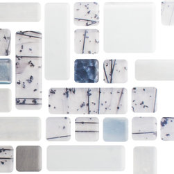 Susan Jablon Mosaics - Quarter Sheet of Birch Tree Series 3 Glass Tile - Birch Tree Series 3. A stunning mix of handmade dichroic blue ash tile and hand made glass tile are randomly placed among white various styles and shapes of white glass tile. A perfect backsplash or vertical installation.