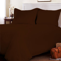 Egyptian Cotton Flat Sheet Wth Duvet Cover 600 TC Solid (Full, Chocolate) By Fan - This is 1 Flat sheet (81 x 96 inches) and 1 Duvet Cover (88x88 inches) only.