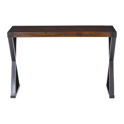 Kathy Kuo Home - Tahiti Espresso Contemporary X Leg Console Desk - Crafted in dark walnut wood, this console is an excellent example of how modern minimalism can still be sexy.  The richness of the finish and the airy quality of the crossed legs all serve to express a certain type of luxury - earthy yet refined.  Gorgeous!