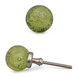 "Potteryville - Glass Knobs, Green With Air Bubbles - Green Glass Round Knob with air bubbles for your kitchen, bathroom cabinets and drawers. These  fun glass knobs add a touch of design to your household cabinets,  drawers or dressers. Cabinet knobs are approximately 1"" in diameter."