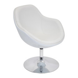"Lumisource - Saddlebrook Lounger, White - 28"" Diam. x 31"" H"