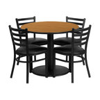 Flash Furniture - Flash Furniture Restaurant Furniture Table and Chairs X-GG-1301BRSR - 36'' Round Natural Laminate Table Set with 4 Ladder Back Metal Chairs - Black Vinyl Seat [RSRB1031-GG]