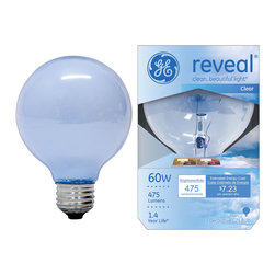 48695 – 40G25W/RVL PQ1/6 GE reveal® 40 watt G25 1-pack - •GE reveal® bulbs fill your rooms with clean, beautiful light®. GE reveal® technology filters out dull, yellow rays, bringing out colors and patterns that go unnoticed under regular incandescent light. GE reveal® globes' decorative round shape is perfect for illuminating pendant and vanity fixtures. GE reveal® color-enhanced full-spectrum bulbs make colors and patterns pop, creating enhanced, vivid surroundings throughout your home.